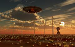 A UFO and alien on a desert wind farm. Stock Illustration