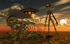 A Grey Alien looking at humanoid remains as a UFO flys overhead. Stock Illustration