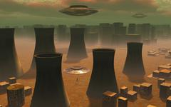 Aliens visiting a nuclear power station. Piirros