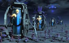 Grey Aliens awaking humanoid clones in bio-transport containers. Stock Illustration
