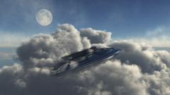 A UFO hiding in a dense cloud formation. Stock Illustration
