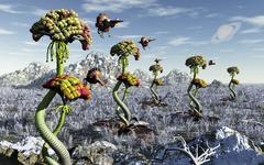 A futuristic alien plant harvest. Stock Illustration