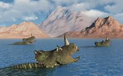 Centrosaurus dinosaurs migrating across a river Stock Illustration