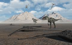 Allosaurus dinosaurs approach a group of dead sauropods. Stock Illustration