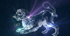Leo. Zodiac sign. Horoscope. Constellation the Lion. - stock footage