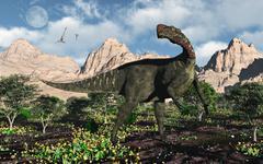 An Altirhinus dinosaur in a Cretaceous environment. Stock Illustration