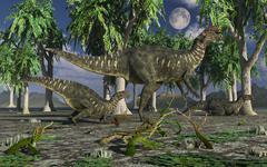 A group of Altirhinus dinosaurs. Stock Illustration