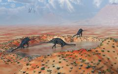 A family of Massospondylus at a watering hole. Stock Illustration