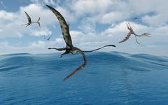A flock of Quetzalcoatlus fishing. Stock Illustration