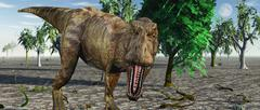 Confrontation with a carnivorous Tyrannosaurus rex. Stock Illustration