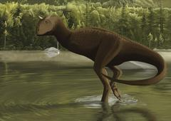 Carnotaurus searching for food in a prehistoric lake. Stock Illustration