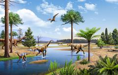 Two Herrerasaurus dinosaurs chasing a Silesaurus down a stream. Stock Illustration