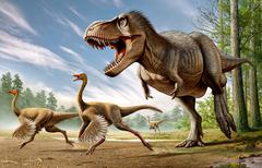 Tyrannosaurus Rex attacking two Struthiomimus dinosaurs. Stock Illustration