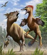 Confrontation between Pectinodon bakkeri and a Stygimoloch. Stock Illustration