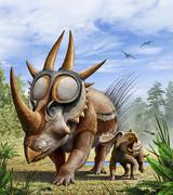 A Rubeosaurus and his offspring. Stock Illustration