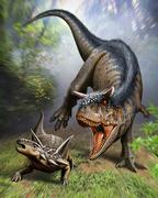 Carnotaurus attacking an Antarctopelta armored dinosaur. Stock Illustration