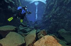 Dry suit divers in gin clear waters of Silfra Crack, Iceland. - stock photo