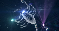 Scorpius. Zodiac sign. Horoscope. Constellation the Scorpion. Stock Footage