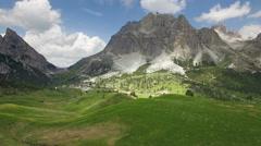 Over Passo Falzarego,view on Sass de Stria and Lagazuoi pikes Stock Footage