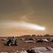 An artist's depiction of the close pass of comet C/2013 A1 over Mars. Stock Illustration