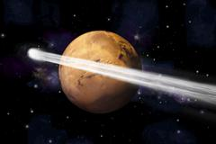 Artist's depiction of the comet C/2013 A1 making a close pass by Mars. Stock Illustration