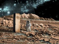 Astronaut on an alien world discovers an artifact that indicates past Stock Illustration