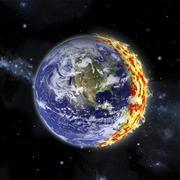 An artist's depiction of planet Earth catching on fire. Stock Illustration