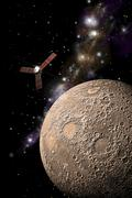 A probe investigating a heavily cratered moon in deep space. Stock Illustration