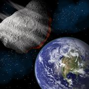 Artist's depiction of a large asteroid approaching Earth on a collision course. Stock Illustration
