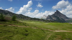 Over Passo Falzarego,view on Sass de Stria pike Stock Footage