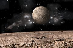 A moon rises over a rocky and barren alien landscape. Stock Illustration