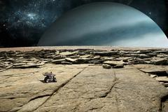 A rover explores the surface of a rocky and barren moon. Stock Illustration