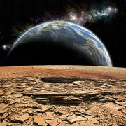 An Earth-like planet rises over a rocky and barren alien moon. - stock illustration