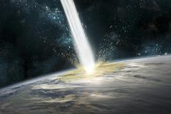 A comet strikes Earth. - stock illustration