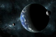 A large water covered planet with two moons alone in deep space. - stock illustration