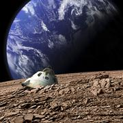 A scorched space capsule lies abandoned on a barren moon. Stock Photos