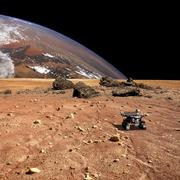 A robotic rover explores an alien world with a large planet at horizon. Stock Photos