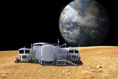 An artist's depiction of a lunar base on a barren moon. Stock Illustration