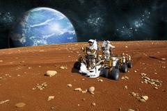 Astronauts explore a barren moon on a rover. Stock Illustration
