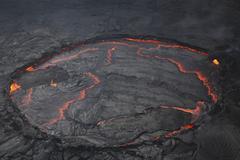 Erta Ale lava lake, Danakil Depression, Ethiopia. - stock photo