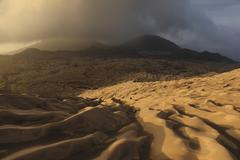 Dukono volcano ash desert, Halmahera Island, Indonesia. Stock Photos