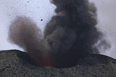 Stromboli eruption, Aeolian Islands, north of Sicily, Italy. - stock photo