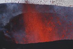 Fimmvorduhals eruption, lava fountains, Eyjafjallajokull, Iceland. - stock photo