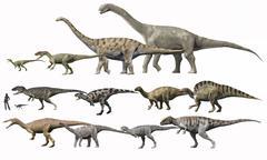 Prehistoric era dinosaurs of Niger drawn to scale. Stock Illustration