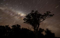 Star trails and the Milky Way, Glenmaggie, Victoria, Australia. Stock Photos