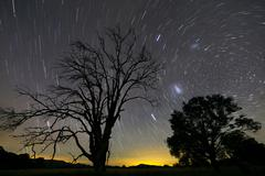 Southern skies star trails, Mudgee, New South Wales, Australia. Stock Photos