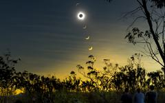 Solar eclipse composite, Queensland, Australia. Stock Photos