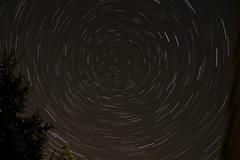 Star Trails around Polaris in the constellation Ursa Minor. - stock photo