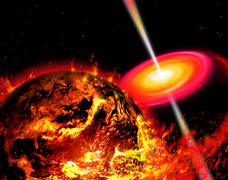 End of the World: The Earth Destroyed by a Black Hole Stock Illustration