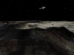 Saturn seen from the surface of its moon, Iapetus. Stock Illustration